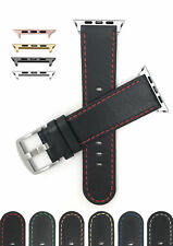 Leather Watch Strap for Apple Watch Band, Series 5 4 3 2 1, Thin - 38mm 40mm