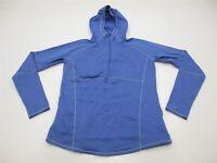 COLUMBIA Jacket Women's Size L Fleece Knit Blue Half Zip Hoodie Sweater