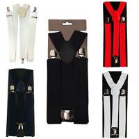 Hombre Tirantes 50mm Ancho Elástico Ajustable Pantalón con Clip Liga Forma en Y