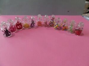 12 Candy Jars Assorted Flavors Dollhouse Miniatures 1:12