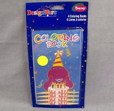 Barney Mini Coloring Books Vintage Design Ware Party Favors 4-Pack 2000 NEW 6.5""