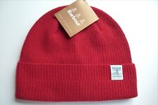 BARBOUR Pure New Wool Red Cuff BEANIE Hat Toque UNISEX Mens Womens BAR31
