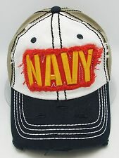 United States U.S. NAVY Hat US Military USA Vintage Distressed Ball Cap OSFM NWT