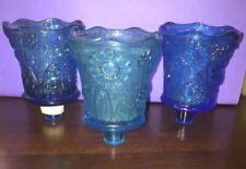Set Of 3 Aqua Blue Daisy Floral Sunflower Peg Votive Cup Candle Holder L@K