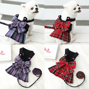 Pet Dog Plaid Skirt Chest Strap Traction Rope Large Bow Puppy Elegant Dresses