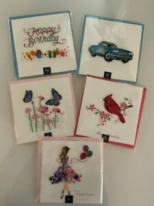 5-Papyrus NIQUEA.D Quilling Birthday Butterfly Birds Car Flowers Card Lot