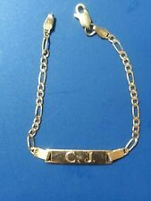 14k Yellow Gold Figaro Chain Baby/Kid ID Bracelet  Inscribed C J Initials