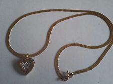 "14k Yellow Gold 17.5"" Herringbone Chain With A Diamond Heart Pendant"