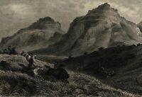 Native American Indian Bison Hunting c.1850 Savannah engraved old print