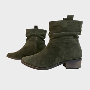 NEXT Ladies Womens Boots Size UK 7 Eu 41 Beige Suede Ruched Ankle Boots