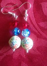 Bolas de arcilla polimérica, plata plateado pendientes, azul craquelado grano rojo BICONO (119)
