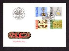 SCOTT# B586-589 Pro Patria Switzerland 1993 Swiss Folk Art Issue FDC Envelope