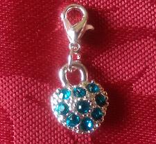 Bracelet charms, lobster clasp, assorted styles, rhinestone heart, bluem dainty