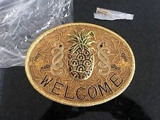 Vintage Wall Hanging Solid Brass/Enamel Painted Welcome Pineapple Butterfly NEW