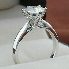 Engagement Ring Solid 14K White Gold 1.01ct Round Forever D/ Vvs1 Moissanite