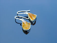 Citrine Natural Gemstone 925 Sterling Silver Earrings Healing Stone Chakra