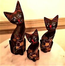 Balinese Handcrafted Feline Cat Family Hand Painted Bali Nwt