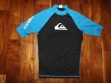 QUICKSILVER Black Blue Sun Protection Swim Shirt M Preowned Mens