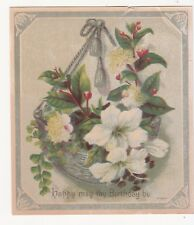 Happy May Thy Birthday Be Hanging Basket White Flowers Victorian Card c 1880s