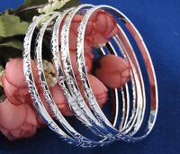 5pcs/set 925 Silver Women Carving Pattern Bracelet Laies Bangle Jewelry Gift NEW