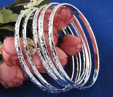Lot 5pcs 925 Silver Carving Pattern Women's Bracelet Bangle Jewelry Gift New US