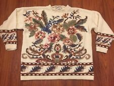 Womens Heirloom Collectibles Hand Knit Thick Winter Sweater Ramie Cotton Large