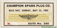 1980 Indianapolis 500 Race Day Champion Spark Plug Co.Suite Ticket Brickyard