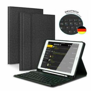 DEUTSCHE Tastatur für iPad 2018/2017 Air 1/Air 2 QWERTZ Bluetooth Tastatur Hülle