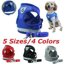 Small Pet Dog Cat Harness & Walking Leads Set Puppy Breathable Mesh Vest UK