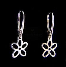 FASHIONS FOREVER® Sterling Silver 5-PETAL Flower Leverback Earrings, MADE IN UK