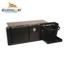 Marine Boat Glove Box - Black Plastic Storage Box With Cupholder & Key Lock