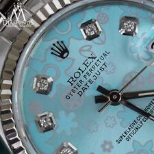 Blue Flower Rolex 31mm Diamond Datejust 18K White Gold & Stainless Steel Jubilee