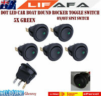 5X LED Dot Light 12V16A Car Boat Round Rocker ON/OFF Toggle SPST Switch Green