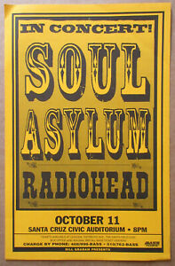 RADIOHEAD Santa Cruz Civic Auditorium 1995 Concert POSTER The Bends SOUL ASYLUM