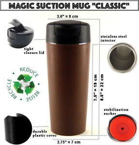 MAGIC SUCTION MUG Classic Brown ✈ Travel coffee cup for all Mighty Hikes
