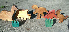 Handcrafted Wooden Dinosaurs - Set of 5 - Wood Toys -Multiple Finishes