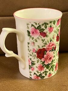 ROSE OF ENGLAND FLORAL RED PINK ROSES DELICATE MUG FINE BONE CHINA CUP