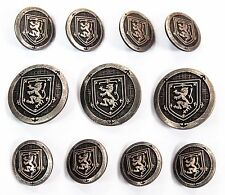 Antique Silver Blazer Buttons Set For Suit, Blazer, or Sport Coat - Metal Shank