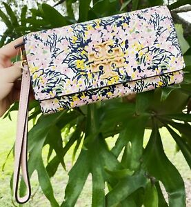 Tory Burch Britten Printed Large Zip Continental Wallet Wristlet Flower Field