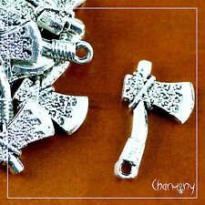 Hatchet charm ~PACK of 6~ ax axe Tibetan silver woodcutter native american bead