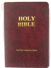 Holy Bible New American Bible Red Bonded Leather Cover 1991 Fireside Publishers