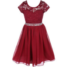 BURGUNDY Flower Girl Dress Birthday Pageant Wedding Party Bridesmaid Formal Gown