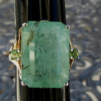 New Designer Huge 16.20 carat Columbian Emerald, Peridot 14k gold ring sz 7.2