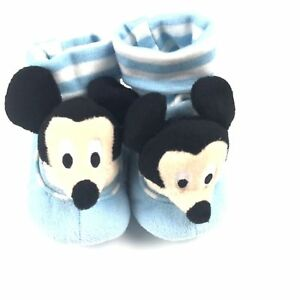 Disney Baby Blue Stripe Cuffed Plush Rattle Mickey Mouse Slippers Sz 0-6 MO NEW