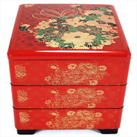 Japanese Stack Bento Box Lunch Container 3-Tier Lacquer Red Flower Made in Japan