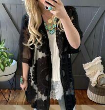 6060e85529fef 2X NWT Boutique Plus Size Boho Black Eyelet Lace Kimono Maxi Duster Jacket  Top