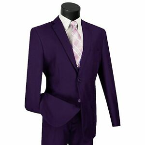LUCCI Men's Purple 2 Button Classic Fit Poplin Polyester Suit NEW