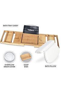 Milliard Ultimate Bath Spa Kit, includes Bamboo Bath Caddy tray, Suction Bath