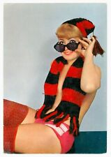Semi Nude Pin Up Girl Wearing AC Milan Red & Black Football Fan Scarf Hat Italy
