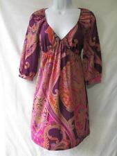 Sexy Paisley Knit Dress Deep V-Neck Purple Orange Pink 3/4 Sleeve Above Knee S